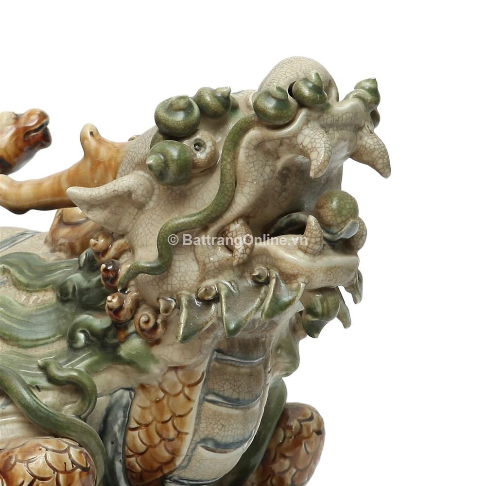 Tượng Long Quy - Men rạn - Cao 35cm