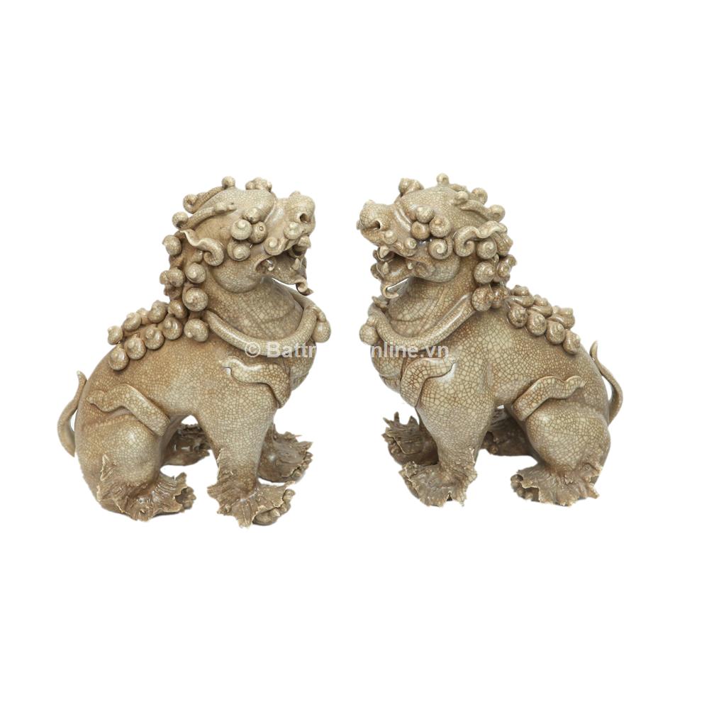Tượng Nghê Chó - Men rạn - Cao 20cm