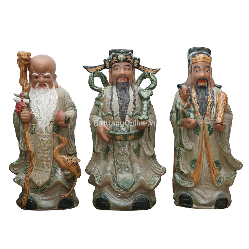 Tượng Tam Đa - Men rạn cổ - cao 70cm