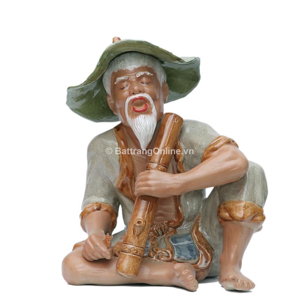 tượng ông lão hút thuốc lào - men rạn - cao 43cm, rộng 33cm