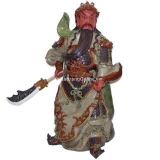 Tượng Quan Công mặt hồng - Men Rạn - Cao 80cm