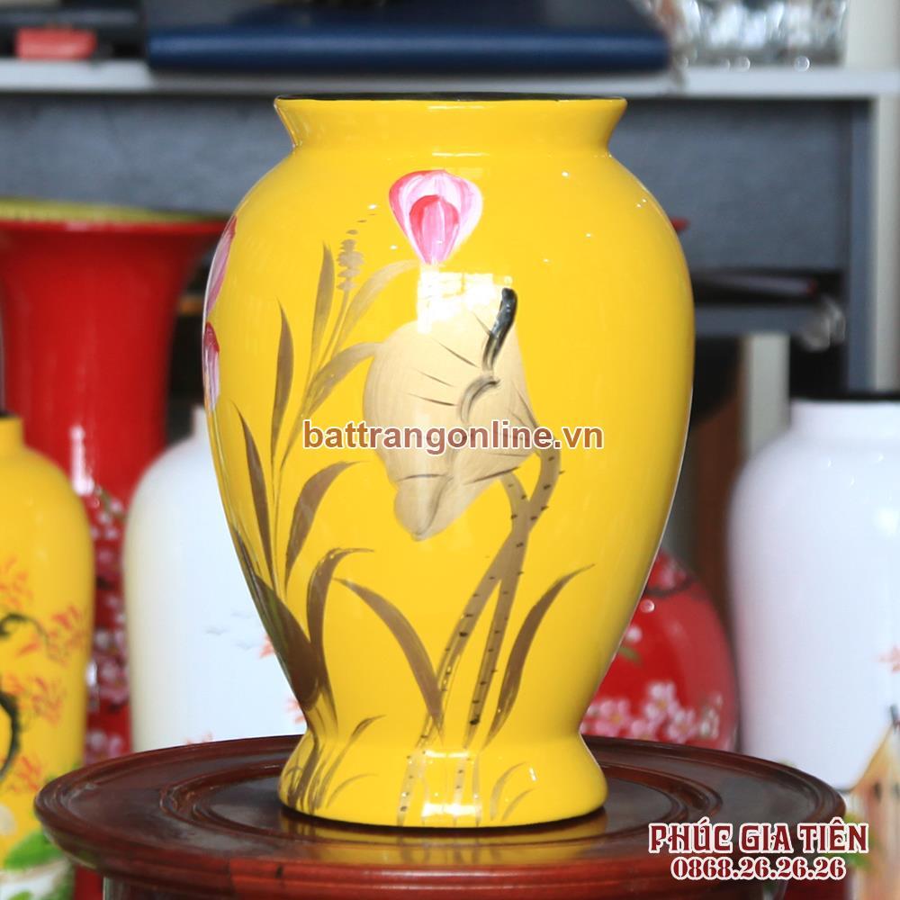 Vò bóng sơn mài chân cao hoa sen nền vàng cao 26cm