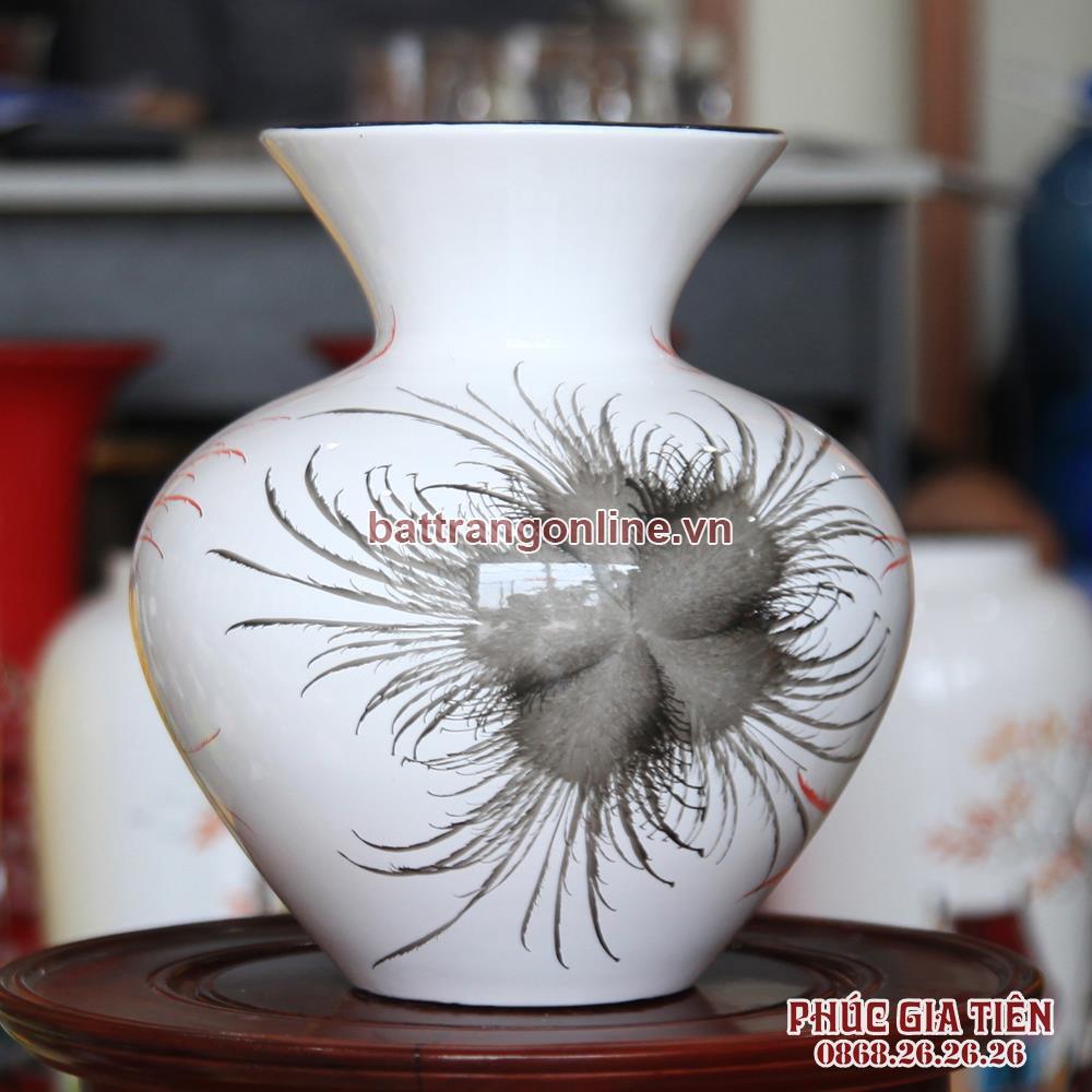Vò bóng sơn mài loe hoa bông nền trắng cao 23cm