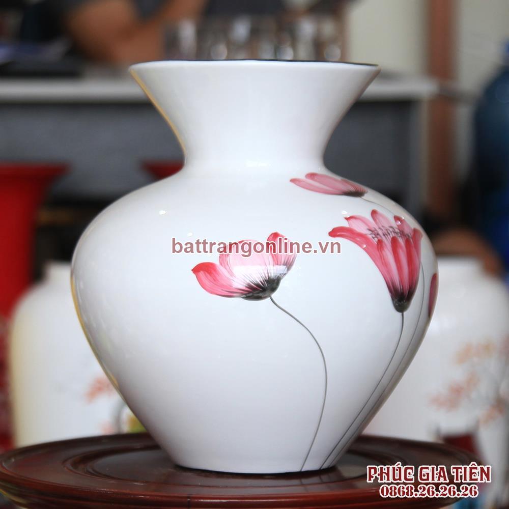Vò bóng sơn mài loe hoa đỏ nền trắng cao 23cm