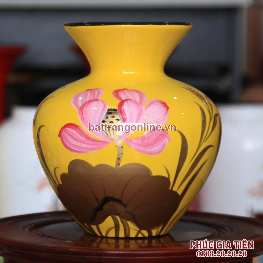 Vò bóng sơn mài loe hoa sen nền vàng cao 23cm