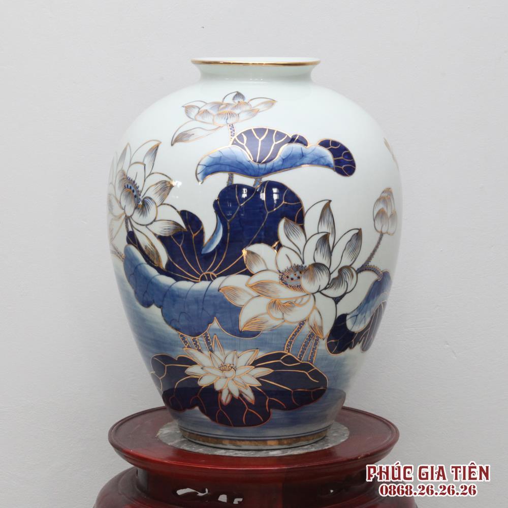 Bình hoa sen vẽ vàng cao 40cm
