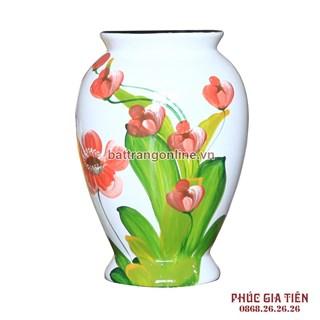 Vò bóng sơn mài chân cao hoa lan đỏ nền trắng cao 26cm