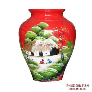 Vò bóng sơn mài ngấn cảnh đồng quê nền đỏ cao 27cm
