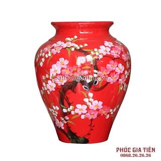 Vò bóng sơn mài ngấn cảnh hoa đào nền đỏ cao 27cm