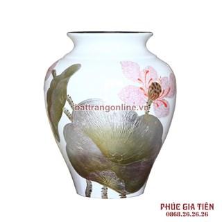 Vò bóng sơn mài ngấn cảnh hoa sen nền trắng cao 27cm