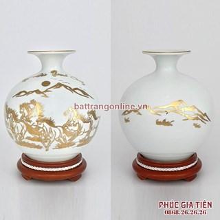 Bình hút lộc vẽ vàng mã đáo thành công nền trắng cao 20.5cm