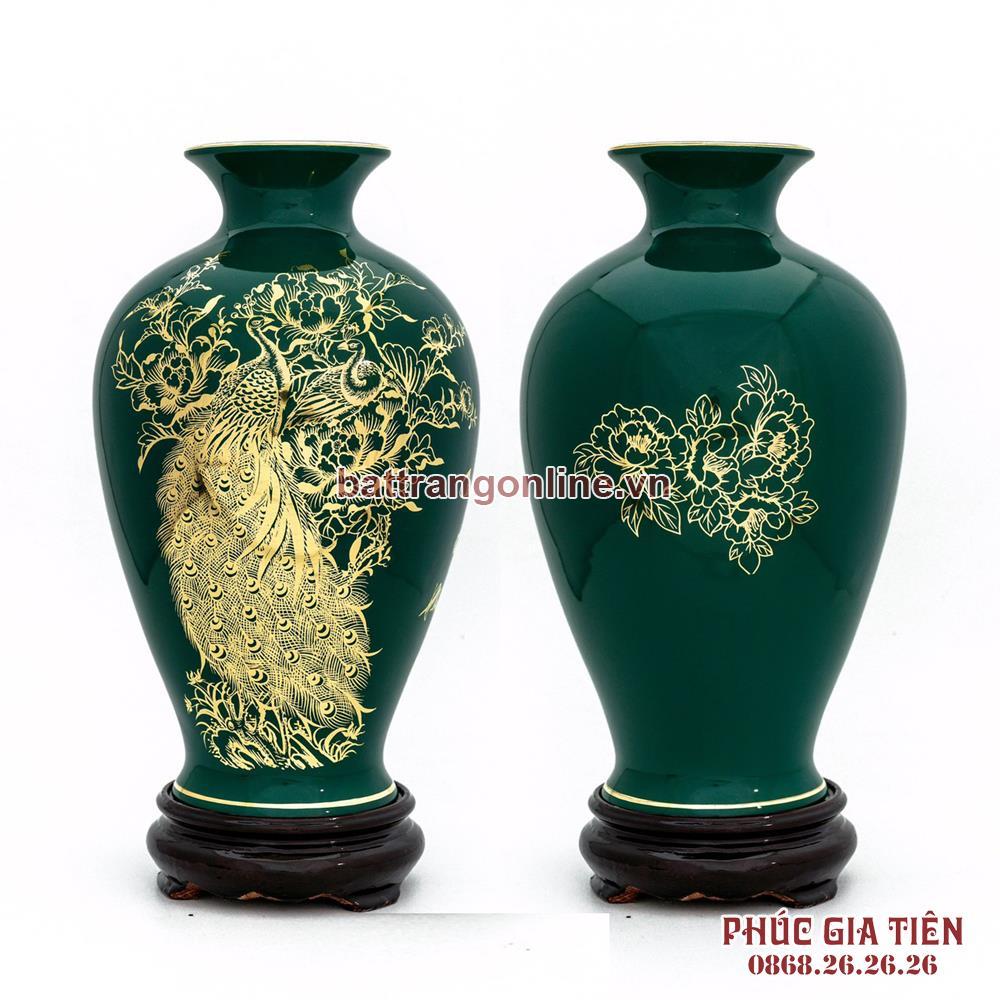 Binh ve vang cong mau don mau xanh cao 30cm