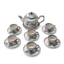 Bộ pha trà hoa lá xanh - men cổ