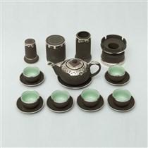 Bộ ấm pha trà Phúc Lộc Thọ - đầy đủ phụ kiện - bọc đồng cao cấp