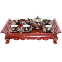 Bộ ấm chén vai vuông khắc hoa mai  - bọc đồng  và khay gỗ hương cao cấp