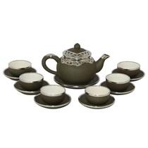 Bộ ấm pha trà dáng chóp - xanh rêu - bọc đồng nghệ nhân