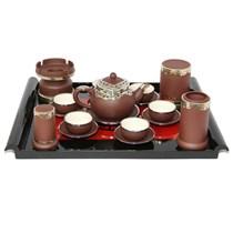 Bộ ấm pha trà dáng chuông - đầy đủ phụ kiện - bọc đồng cao cấp