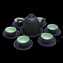 Bộ ấm chén gốm đen - hình bát giác