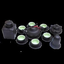 Bộ ấm chén gốm men đen - cây trúc - đầy đủ phụ kiện