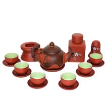Bộ pha trà gốm đen đắp nổi hoa phù dung đỏ