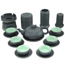 Bộ sản phẩm gốm - Trúc đào men đen và phụ kiện