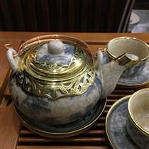 Bộ ấm chén dáng Nhật - men rạn cổ bọc đồng - nghệ nhân