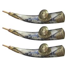 Tẩu thuốc lào trưng bày - men rạn cổ bọc đồng - dài 40 cm