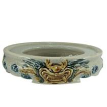 Chân bát hương - men rạn cổ - đắp nổi - đường kính 14cm