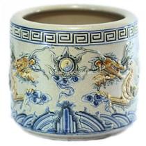 Bát hương Rồng nổi - men rạn cổ  - đường kính 24 - cao 23 cm