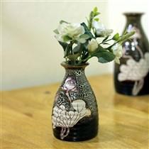 Bộ 3 bình khắc hoa sen men hỏa biến