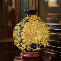 Bình hút lộc chim công dát vàng nền xanh cao 38cm