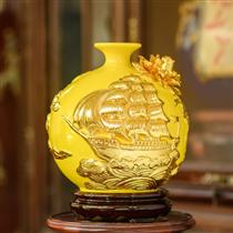 Bình hút lộc thuận buồm xuôi gió dát vàng nền vàng cao 20cm