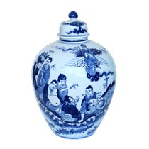 Vò đựng rượu vẽ cảnh bát tiên - men xanh bóng - 16 lít