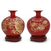 Bình hút lộc vẽ vàng chim công hoa mẫu đơn nền đỏ cao 27cm