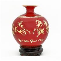 Bình hút lộc vẽ vàng mã đáo thành công nền đỏ H18cm