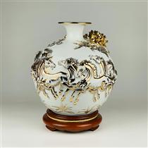 Bình hút lộc vẽ vàng mã đáo thành công nền trắng cao 30cm
