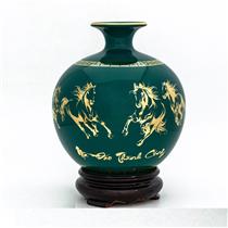 Bình hút lộc vẽ vàng mã đáo thành công nền xanh ngọc lục bảo H 35cm