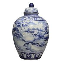 Bình ngâm rượu vẽ sơn thủy - men xanh - 30 lít