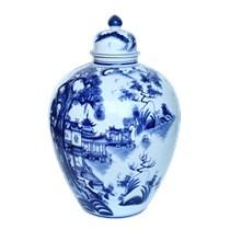 Vò đựng rượu vẽ sơn thủy 16 lít- men xanh bóng -