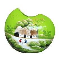 Bình sơn mài dáng vỏ đỗ vẽ cảnh đồng quê nền xanh cao 27cm