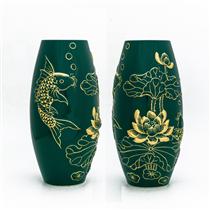 Bình đắp nổi cá chép vẽ vàng cao 30cm