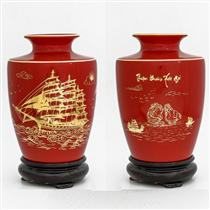 Bình vẽ vàng cảnh thuận buồm xuôi gió nên đỏ, cao 22cm