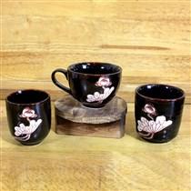 Bộ 3 cốc men hỏa biến khắc hoa sen