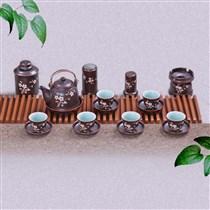 Bộ ấm trà dáng vuốt khắc hoa mai đầy đủ phụ kiện