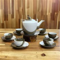 Bộ trà dáng vuông men hỏa biến
