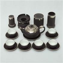 Bộ ấm pha trà Phúc Lộc Thọ gốm đen - đầy đủ phụ kiện - bọc đồng cao cấp