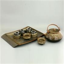 Bộ trà dáng hạt men gấm vàng và khay sứ