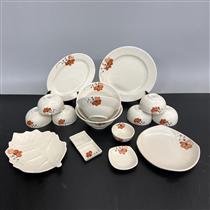 Bộ bát đĩa Bát Tràng vẽ hoa màu cam 15 món