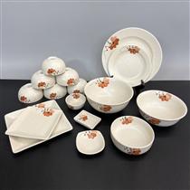 Bộ bát đĩa Bát Tràng vẽ hoa màu cam 16 món