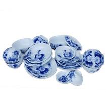 Bộ đồ ăn Bát Tràng - Vẽ hoa sen - Men trắng